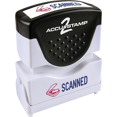 Accu-Stamp2® Two-Color Pre-Inked Shutter Message Stamp, SCANNED, 1/2 x 1-5/8 Impression, Red/Blue Ink (035606)
