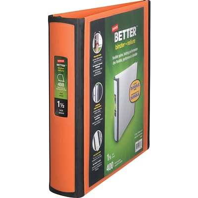 Better 1.5-Inch D-Ring View Binders, Orange (13467)