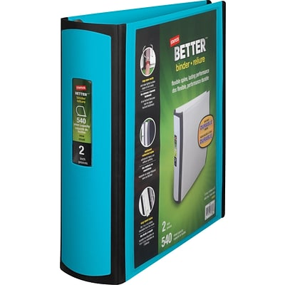 Better 2-Inch D-Ring View Binder, Teal (13470-CC)