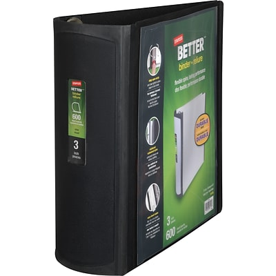 Better 3-Inch D-Ring View Binder, Black (15126-CC)