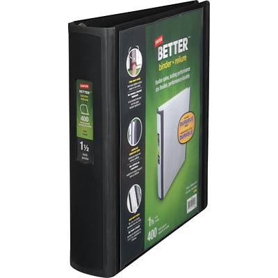 Better 1.5-Inch D-Ring View Binder, Black (13394)