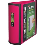 Staples® Better® D-Ring View Binders; 3 Pink