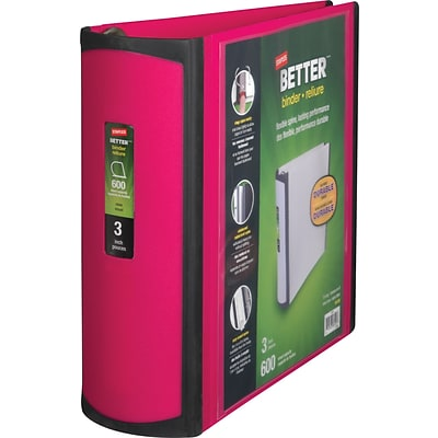 Better® D-Ring View Binders, 3 Pink