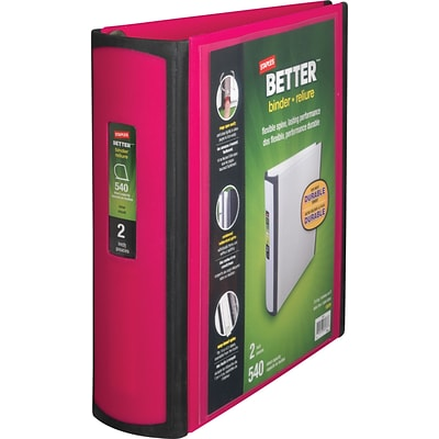 Better 2-Inch D-Ring View Binder, Pink (13570-CC)