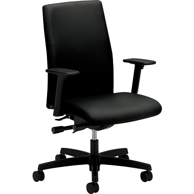 HON® Ignition™ Series Mid-Back Chair, Fabric, Black, Seat: 20W x 17D, Back: 18 1/2W x 25 1/2H