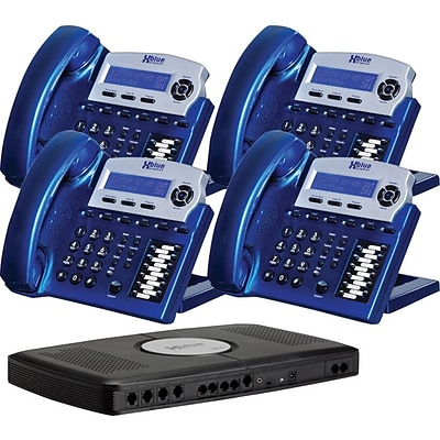 Xblue® X16 Self-Install Digital Telephone System Bundle, 4-Pack, Vivid Blue