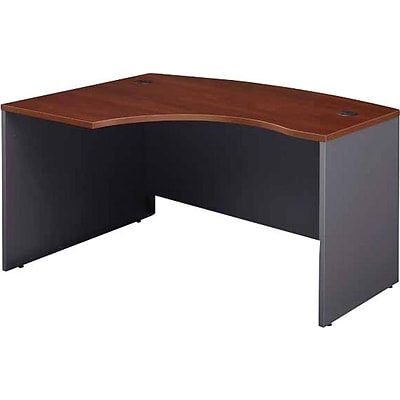 Bush Business Westfield 60W x 43D Left Hand L-Bow Desk Shell, Hansen Cherry/Graphite Gray, Installed