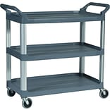 Rubbermaid Commercial 3-Shelf Plastic/Poly Utility Cart, Black (FG409100 BLA)