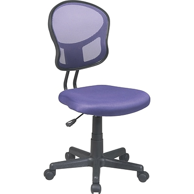 Office Star Low-Back Mesh Task Chair, Armless, Purple