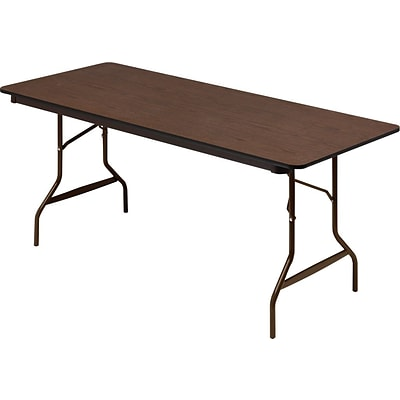 Iceberg Economy Wood Laminate Rectangular Folding Table, Walnut/Brown, 29H x 60W x 30D