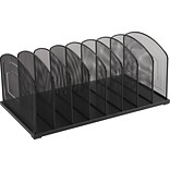 Black Wire Mesh Desk Accessory, 8 Section Horizontal Sorter