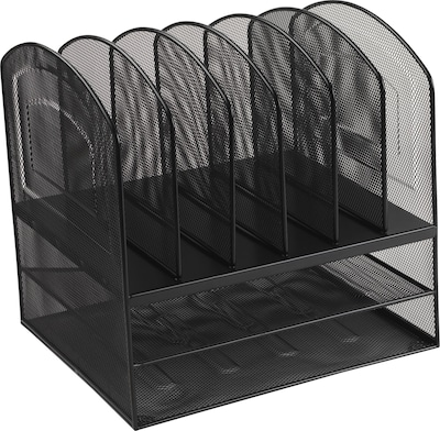 Black Wire Mesh Desk Accessory, 2 Horizontal/6 Upright Section Organizer