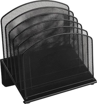 Black Wire Mesh Desk Accessory, 5 Section Incline Sorter