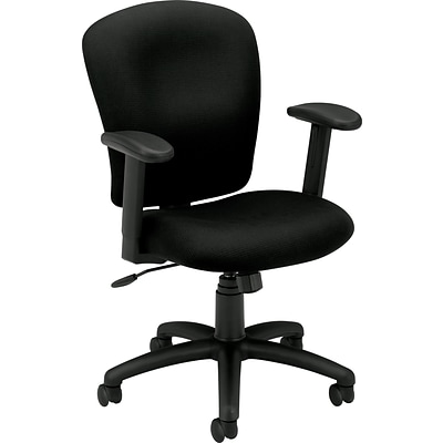 basyx by HON VL220 Mid-Back Task Chair, Fabric, Black, Seat: 20W x 16 3/4D, Back: 20 1/4W x 22 1/2H NEXT2017 NEXT2Day