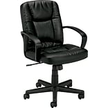 basyx by HON® VL171 Executive Mid-Back Chair, Black SofThread™ Leather