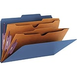 Smead Pressboard Classification Folders, 2 Pocket Dividers, Dark Blue, Legal,-size Holds 8 1/2 x 14