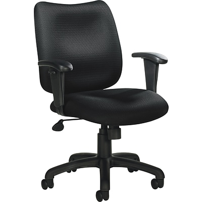 Offices To Go® Tilter Chair with Arms, Fabric, Black, Seat: 20W x 18D, Back: 18 1/2W x 17H