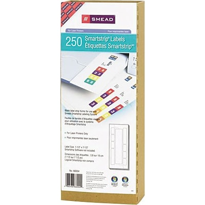 Smead® Smartstrip End-Tab Label Refill Pack for Laser Printer, 250/Pk (66004)