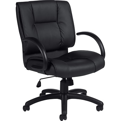 Offices To Go® Luxhide® Executive Mid-Back Chair, Bonded Leather, Blk, Seat: 21x18, Back: 21x22