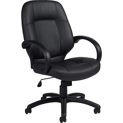 Offices To Go® Luxhide® Exec High-Back Chair, Bonded Leather, Blk, Seat: 21.2x19, Back: 21.5x24