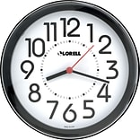Lorell Radio Controlled Wall Clock, Black, 8.5