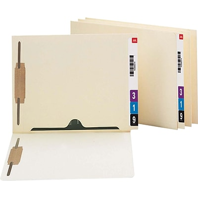 Smead® Reinforced End-Tab File Folders with Full Pocket, 2-Fasteners, Letter, Manila, 50/Bx (34101)