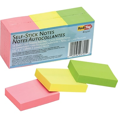 Redi-Tag® Self-Stick Notes, Blank, Assorted Neon Colors, 1 1/2 x 2, 12/Pk
