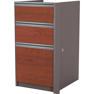 Bestar® Connexion Collection 3-Drawer Lateral File Pedestal, Bordeaux/Slate, Letter/Legal (9362139)