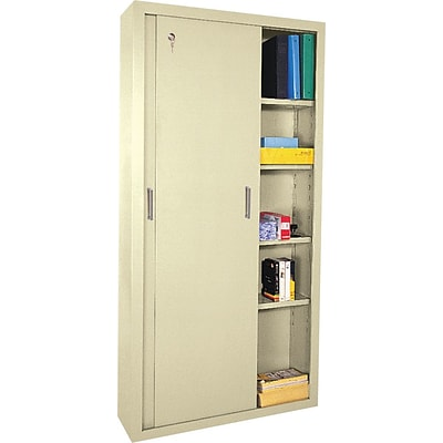 Sandusky® Steel Sliding Door Storage Cabinet, 72Hx36Wx18D, Putty
