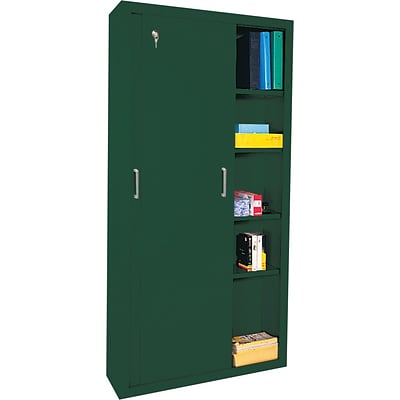 Sandusky® Steel Sliding Door Storage Cabinet, 72Hx36Wx18D, Forest Green