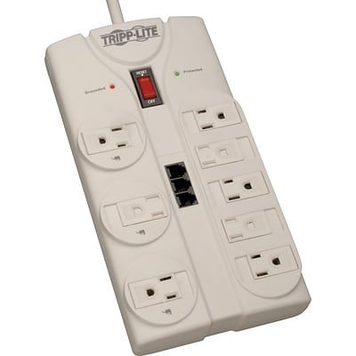 Tripp Lite® 8-Outlet Surge Protector, White, 8-ft. Cord, 2160 Joules
