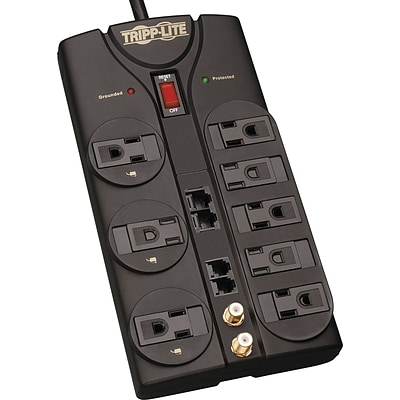 Tripp Lite® 8-Outlet Surge Protector, Black, 10-ft. Cord, 3240 Joules