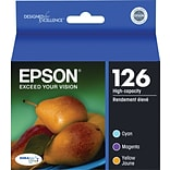 EPSON® 126 T126520 High-Capacity Ink Cartridges; Cyan, Yellow, Magenta, Multi-pack (3 cart per pack)