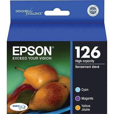 EPSON® 126 T126520 High-Capacity Ink Cartridges, Cyan, Yellow, Magenta, Multi-pack (3 cart per pack)