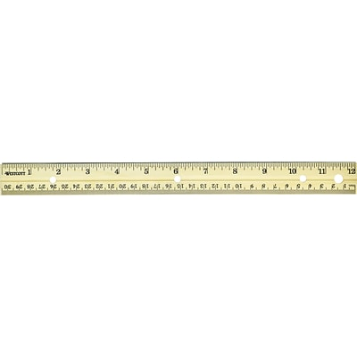 Westcott® School Rulers, 12 Wood with Binder Holes