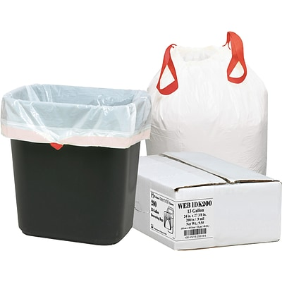 Webster Industries Draw N Tie® Trash Bags, White, 13 Gallon, 200 Bags/Box