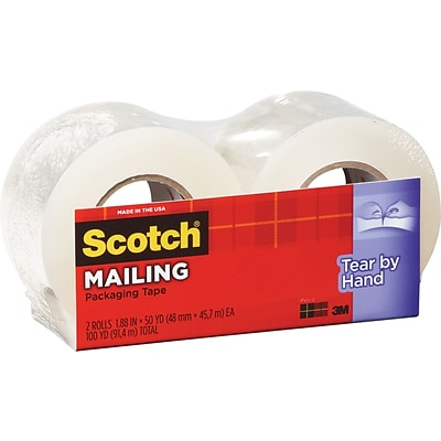 Scotch Tear-By-Hand Mailing Packing Tape, 1.88 x 50 yds, Clear, 2/Pack