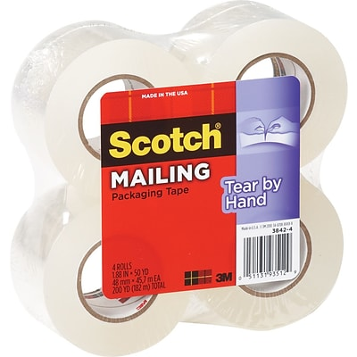 Scotch Tear-By-Hand Mailing Packing Tape, 1.88 x 50 yds, Clear, 4/Pack