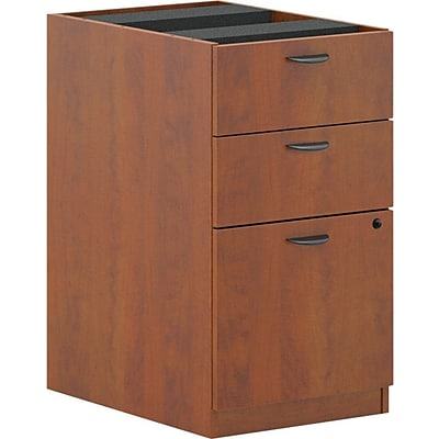 basyx by HON® BL Series 3-Drawer Pedestal Box/Box/File, Medium Cherry, 27 3/4H x 15 5/8W x 21 3/4D