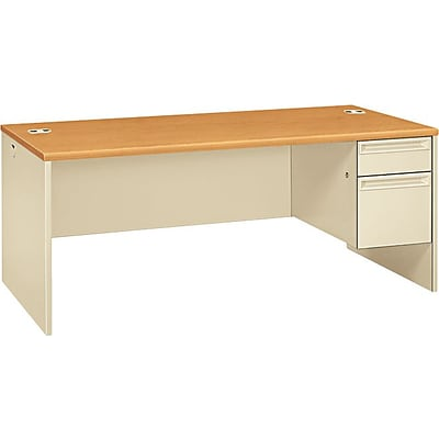 HON¨ 38000 Series Right-Pedestal Desk, Harvest/Putty, 29 1/2H x 72W x 36D