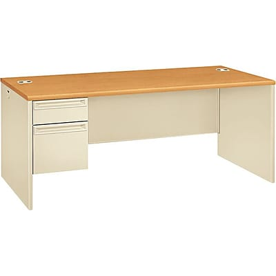 HON® 38000 Series Left-Pedestal Desk, Harvest/Putty, 29 1/2H x 72W x 36D