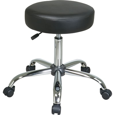 Office Star Faux Leather Backless Stool, Black and Chrome