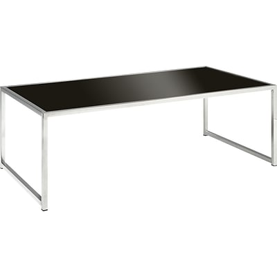 OSP Designs Wall Street Coffee Table, Chrome and Black