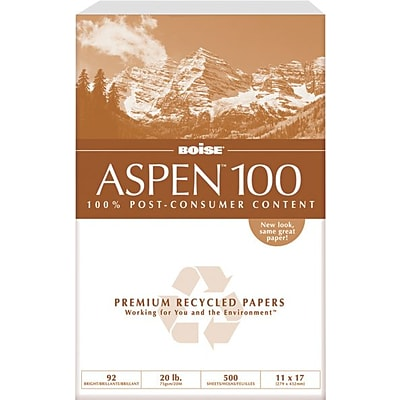 Boise ASPEN 100 Multi-Use Recycled Paper, 11 x 17, White, 2500/Carton (054925)