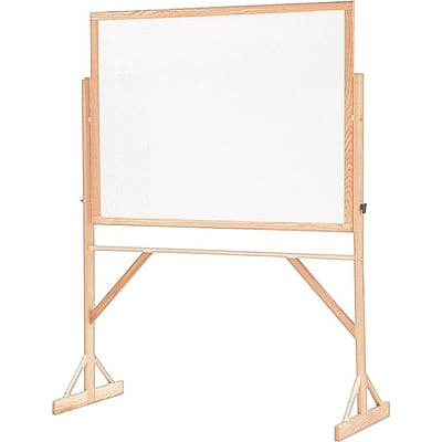 Quartet® Reversible Mark N Wipe Board w/ Stand; 6Wx4H, Oak Frame