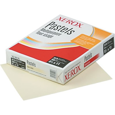 Xerox Multipurpose Pastel Colored Paper, Letter, 20 lb., Ivory, 500 Sheets/Rm
