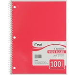 Mead Spiral 1-Subject Notebook, 8 1/2 x 10 1/2, Wide Ruled, 100 Sheets