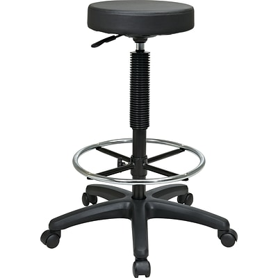 Office Star Intermediate Faux Leather Backless Stool with Footring, Black