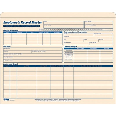 Tops® Employee Record Jacket, 1 Expansion, Manila
