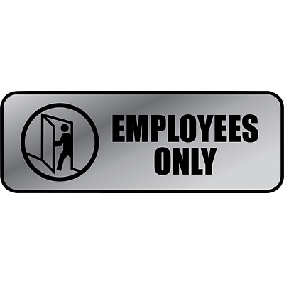 Employees Only Brushed Metal Policy Sign, 3 x 9